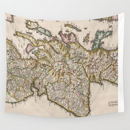 Vintage Map of Scotland (1654) Wall Tapestry