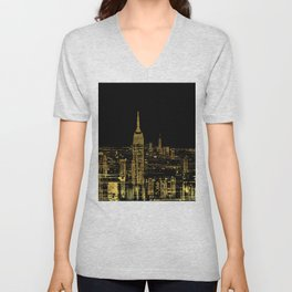 Abstract Gold City  Skyline Design Unisex V-Neck
