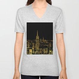 Abstract Gold City  Skyline Design Unisex V-Neck