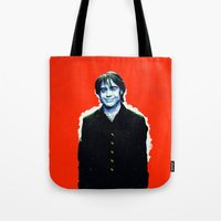brad pitt Tote Bags featuring Brad Roberts by Alec Goss