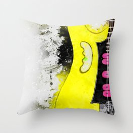 Steve Vai's electric guitar, guitar wall art, studio decor, music room decor, gift for guitarists Throw Pillow