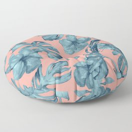 Island Life Teal on Coral Pink Floor Pillow