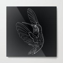 Hummingbird illustration on black background Metal Print