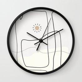 line art sun black white Wall Clock
