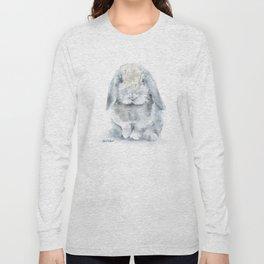 Mini Lop Gray Rabbit Watercolor Painting Long Sleeve T-shirt