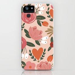 Seamless Pink Pastel Floral Pattern Salmon Red Orange iPhone Case