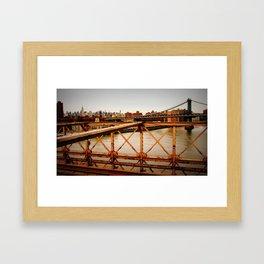 New York Skyline from the Brooklyn Bridge Framed Art Print
