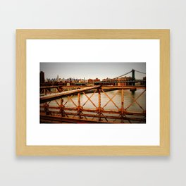 New York Skyline from the Brooklyn Bridge Framed Art Print