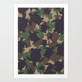 Turtle Camouflage Green Art Print