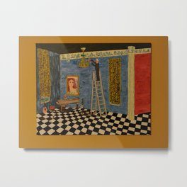 Man Changing Lightbulb In A Room (Gold Border) Metal Print