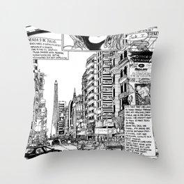 Buenos Aires Avenida 9 De Julio Throw Pillow