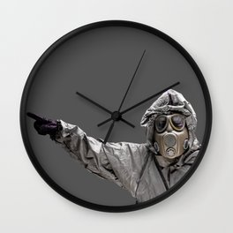 Protection Suit And Gas Mask Wall Clock