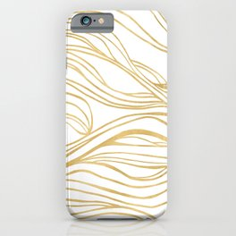 Gold Shimmer Swirls - Abstract Waves iPhone Case