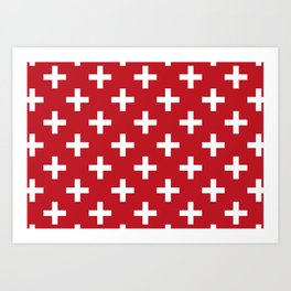 Criss Cross | Plus Sign | Red and White Art Print