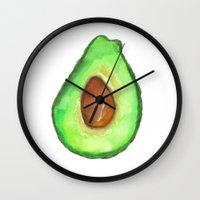 avocado Wall Clocks featuring Avocado by Janelle Adamson