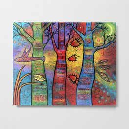 Aspens in an Enchanted Forest with Flying Fish - A Fantastic Journey Metal Print