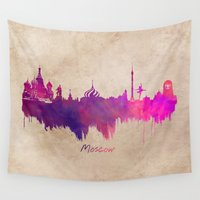 moscow Wall Tapestries featuring Skyline Moscow purple by jbjart