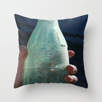 coca cola Throw Pillows featuring Coca-Cola by The Newsie