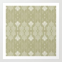 Art Deco Botanical Flower Shapes - Summer Green Art Print