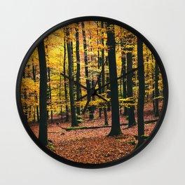 Yellow Orange Autumn Fall Forest Wall Clock