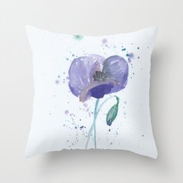 Blue Poppy flower illustration painting in watercolor Throw Pillow