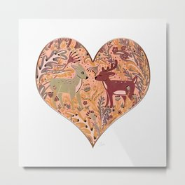 Deer & Doe in Woodland Fern Forest , Cute Stag meets his Love hidden among the Plants Metal Print