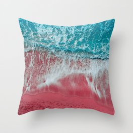 SPLASH - Electric Pink Sand and Turquoise Waves Throw Pillow