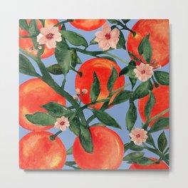 Orange garden watercolor botanical art Metal Print