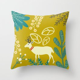 Deer in spring Throw Pillow