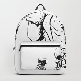 Vampire skeleton holding blood cup -  black and white Backpack