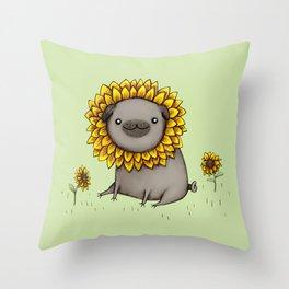 Pugflower Throw Pillow