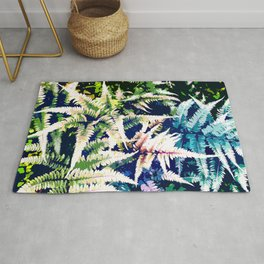 Wild Jungle, Dark Forest Digital Painting, Botanical Leaves Modern Eclectic Fern Graphic Nature Rug