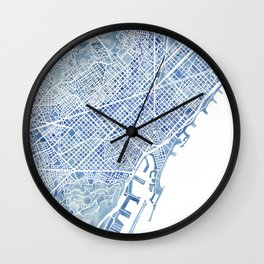 Barcelona Blueprint Watercolor City Map Wall Clock