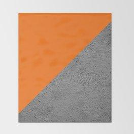 Cement vs Orange Diagonal Color-block Throw Blanket