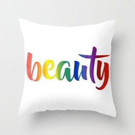 Rainbow Beauty #typography #society6 Throw Pillow