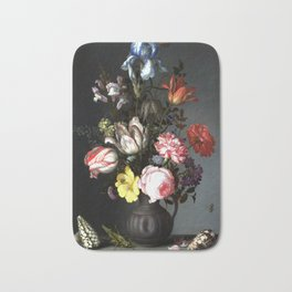 Flowers In A Vase With Shells And Insects Bath Mat