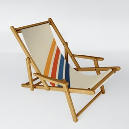 Retro 70s Stripe Colorful Rainbow Tan Classic Vintage Sling Chair