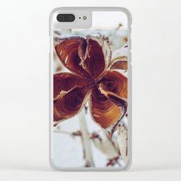 White Orange Flower Clear iPhone Case
