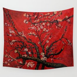 Almond Tree in Blossom - Red Motif by Vincent van Gogh Wall Tapestry