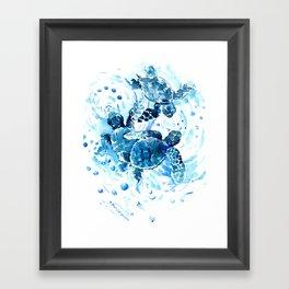 Three Sea Turtles, blue bathroom turtle artwork, Underwater Framed Art Print