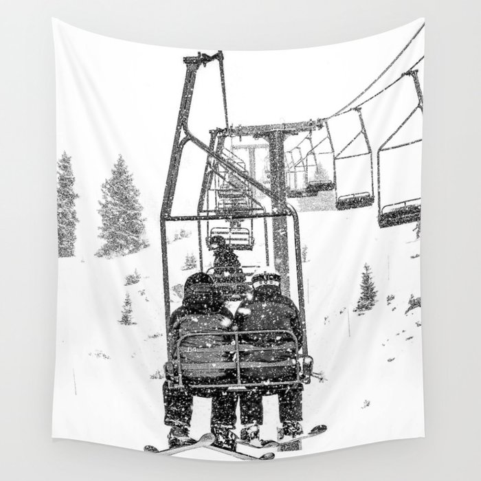 Snow Lift // Ski Chair Lift Colorado Mountains Black and White Snowboarding Vibes Photography Wall Tapestry