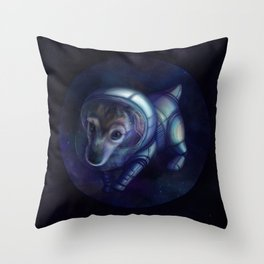 In the footsteps of Belka and Strelka Throw Pillow