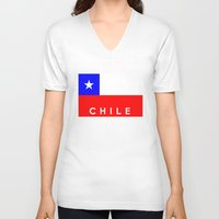 chile V-neck T-shirts featuring Chile country flag name text by tony tudor