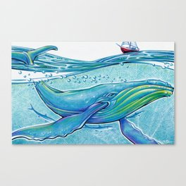 Whale Boat - Mixed Media Illustration Canvas Print