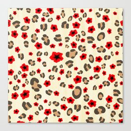 Romantic Leopard Print Pattern with Red Flowers Canvas Print