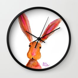 Happy Hare ' LoLLiPoP ' by Shirley MacArthur Wall Clock