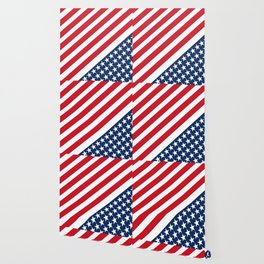 USA American Flag Slanted Stripes Wallpaper
