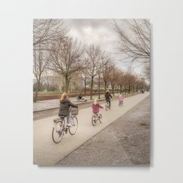 Winter Scene People at Park, Lucca, Italy Metal Print