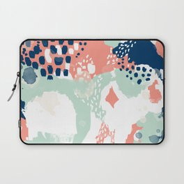 Kayl - abstract painting minimal coral mint navy color palette boho hipster decor nursery Laptop Sleeve