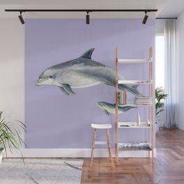 Bottlenose dolphin purple background Wall Mural